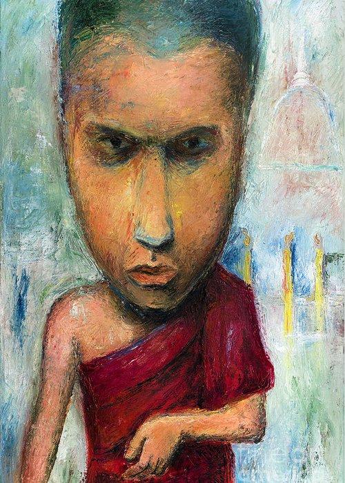 Monk Greeting Card featuring the painting Sri Lankan Monk - 2012 by Nalidsa Sukprasert