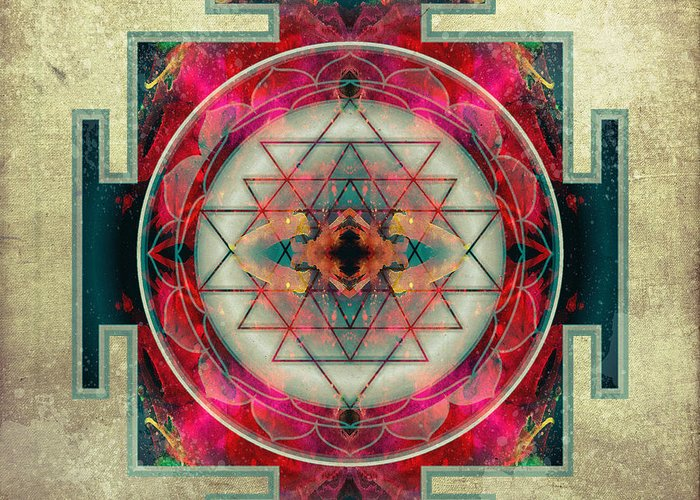 Mandala Greeting Card featuring the digital art Sri Yantra by Filippo B