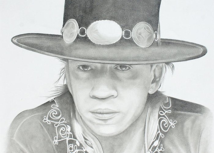 Srv Greeting Card featuring the drawing SRV by Don Medina