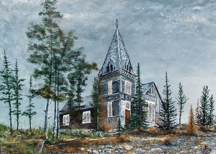 Church Greeting Card featuring the painting St. Andrews Church by Walter Carrick