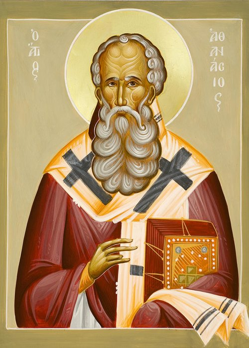 St Athanasios The Great Greeting Card featuring the painting St Athanasios The Great by Julia Bridget Hayes