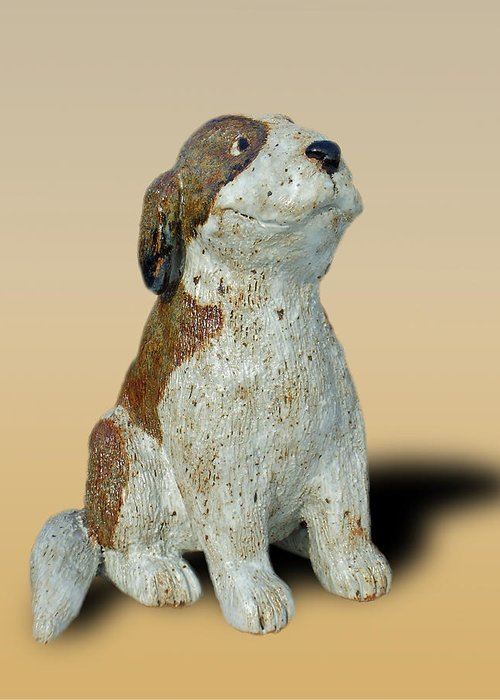 Clay Greeting Card featuring the sculpture St Bernard by Jeanette K