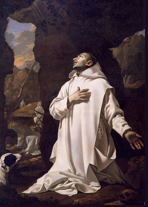Art Greeting Card featuring the painting St Bruno Praying In Desert by Nicolas Mignard
