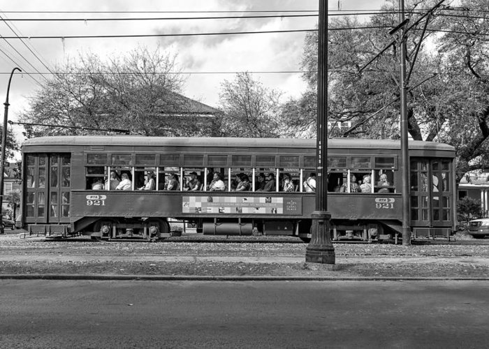 Nola Greeting Card featuring the photograph St. Charles Ave. Streetcar Monochrome by Steve Harrington