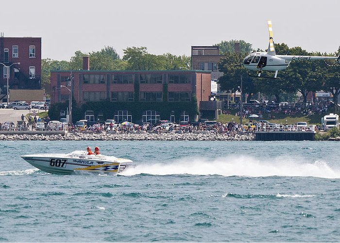 St. Clair Greeting Card featuring the photograph St. Clair Michigan Usa Power Boat Races-4 by Paul Cannon