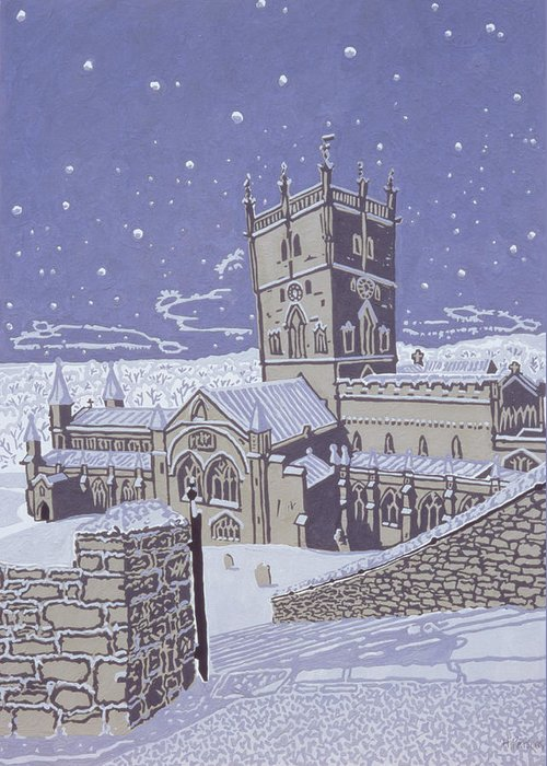 Winter; Church; Night; Nocturnal Greeting Card featuring the painting St David S Cathedral In The Snow by Huw S Parsons