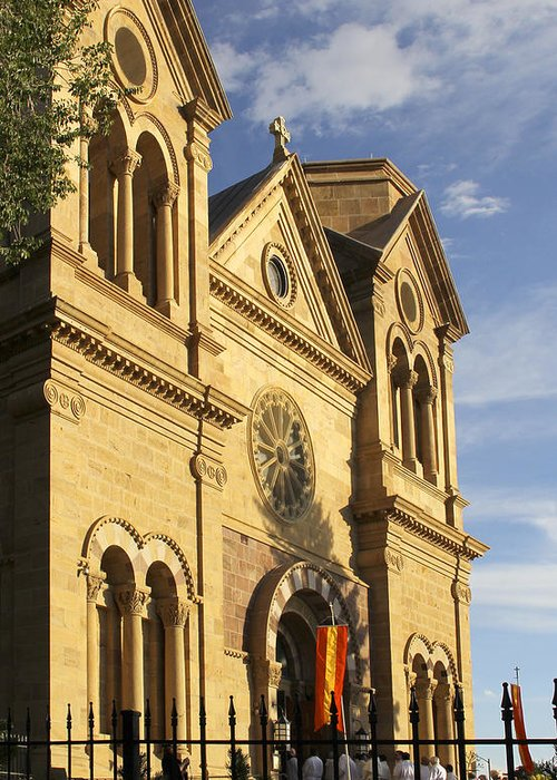 St. Francis Cathedral Greeting Card featuring the photograph St. Francis Cathedral - Santa Fe by Mike McGlothlen
