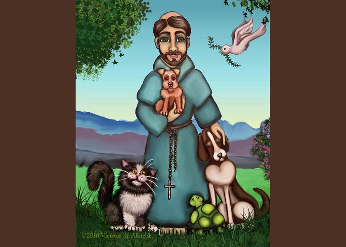 St. Francis Greeting Card featuring the painting St. Francis Libertys Blessing by Victoria De Almeida