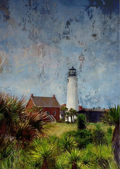 Lighthouse Greeting Card featuring the photograph St. George Island Historic Lighthouse by Carla Parris