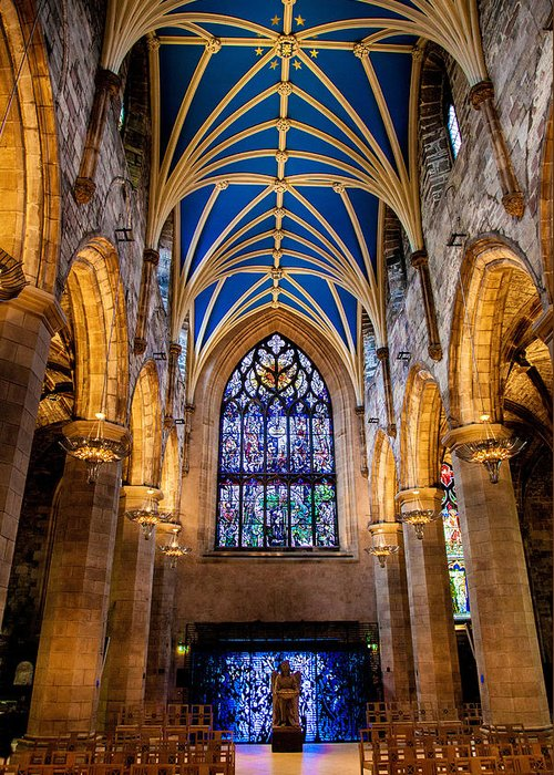 Cathedral Greeting Card featuring the photograph St. Giles Entrance by Brian Grzelewski