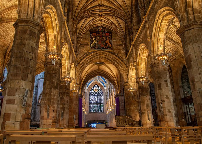 Cathedral Greeting Card featuring the photograph St. Giles Interior by Brian Grzelewski