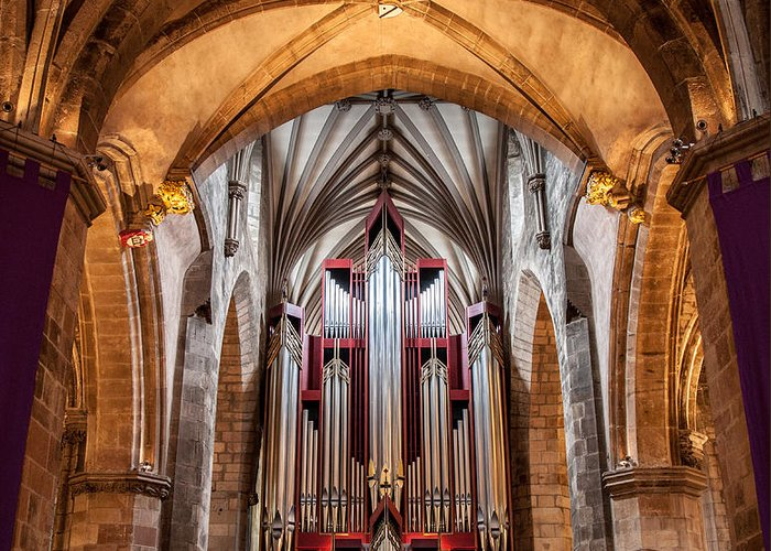 Cathedral Greeting Card featuring the photograph St. Giles Pipe Organ by Brian Grzelewski