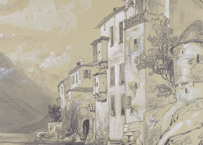 Italian Landscape Greeting Card featuring the painting St Giulio Orta by Edward Lear