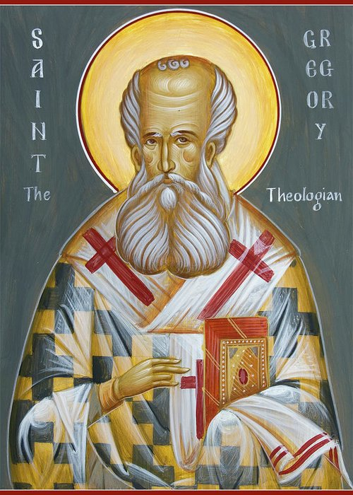 Orthodox Icon Greeting Card featuring the painting St Gregory The Theologian by Julia Bridget Hayes