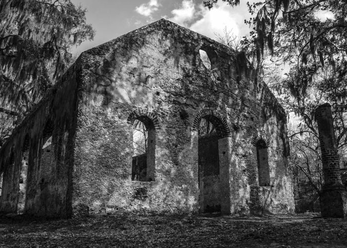 Chapel Of Ease Greeting Card featuring the photograph St Helena Chapel Of Ease Bw 3 by Steven Taylor