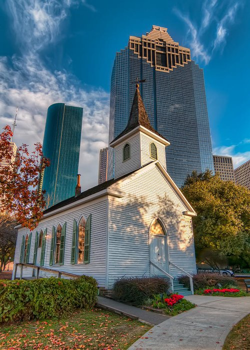 Sam Houston Park Greeting Card featuring the photograph St. John Church by Tim Stanley