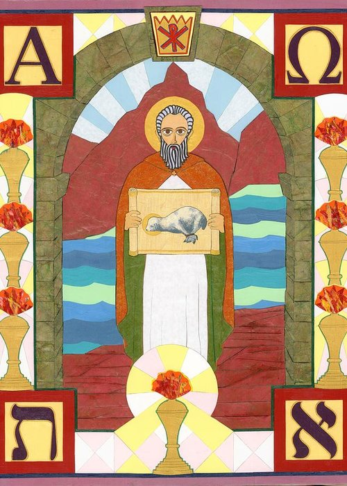 Cut Paper Greeting Card featuring the painting St. John The Divine Icon by David Raber