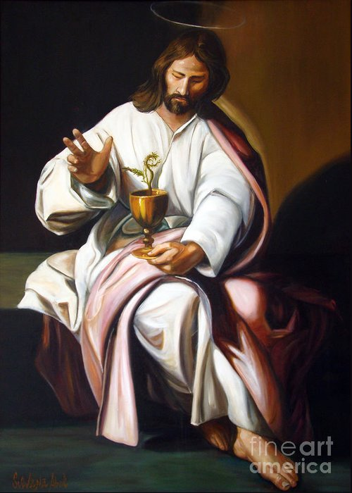 Classic Art Greeting Card featuring the painting St John The Evangelist by Silvana Abel