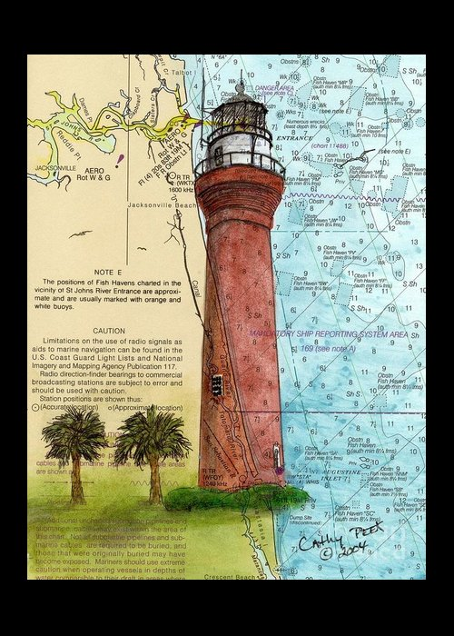 Saint Greeting Card featuring the painting St Johns River Lighthouse Fl Nautical Chart Map Art Cathy Peek by Cathy Peek