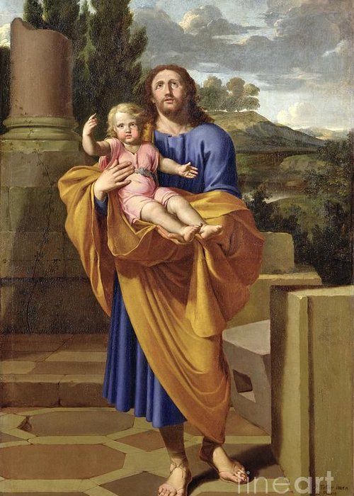 Saint Joseph Greeting Card featuring the painting St. Joseph Carrying The Infant Jesus by Pierre Letellier