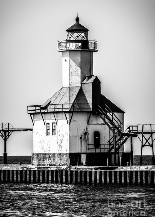 America Greeting Card featuring the photograph St. Joseph Lighthouse Black And White Picture by Paul Velgos