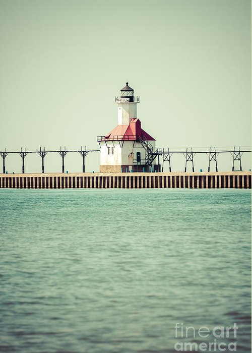 America Greeting Card featuring the photograph St. Joseph Lighthouse Vintage Picture by Paul Velgos