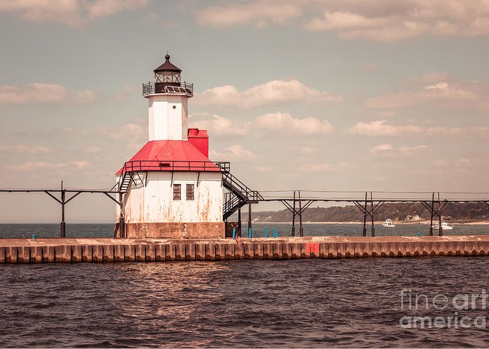 1970s Greeting Card featuring the photograph St. Joseph Lighthouse Vintage Picture Photo by Paul Velgos