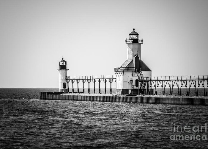 America Greeting Card featuring the photograph St. Joseph Lighthouses Black And White Picture by Paul Velgos