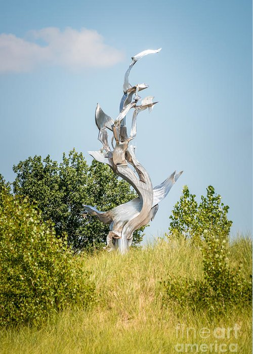 America Greeting Card featuring the photograph St. Joseph Michigan And You Seas Metal Sculpture by Paul Velgos