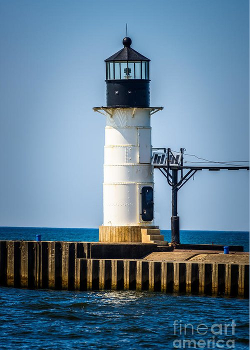 America Greeting Card featuring the photograph St. Joseph Outer Lighthouse Photo by Paul Velgos