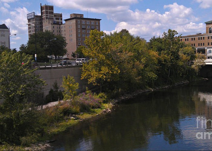 South Bend Greeting Card featuring the photograph St. Joseph River Panorama by Anna Lisa Yoder