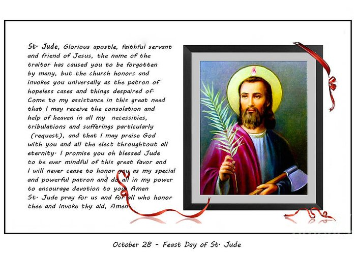 St. Jude Greeting Card featuring the digital art St. Jude Patron Of Hopeless Cases - Prayer - Petition by Barbara Griffin