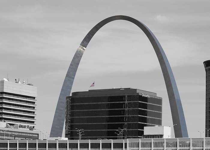 St. Louis Arch Greeting Card featuring the photograph St. Louis Arch From Busch Stadium by Susan Littlefield
