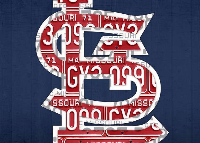 St Greeting Card featuring the mixed media St. Louis Cardinals Baseball Vintage Logo License Plate Art by Design Turnpike