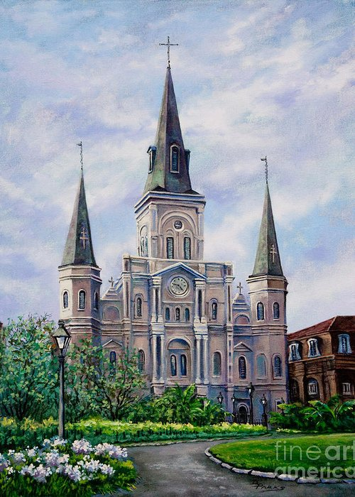 New Orleans Art Greeting Card featuring the painting St. Louis Cathedral by Dianne Parks