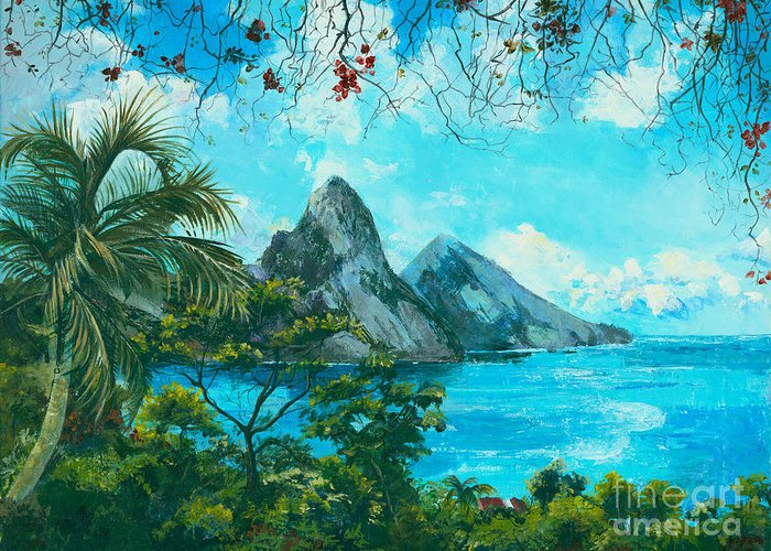 Mountains Greeting Card featuring the painting St. Lucia - W. Indies by Elisabeta Hermann