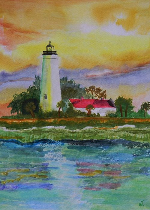 Landscape Greeting Card featuring the painting St. Marks Lighthouse-2 by Warren Thompson