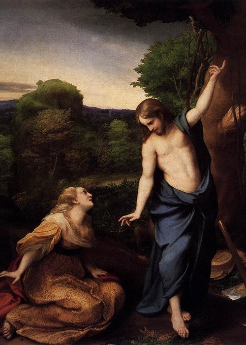 Correggio Greeting Card featuring the painting St Mary Magdalene And Christ by Antonio Correggio