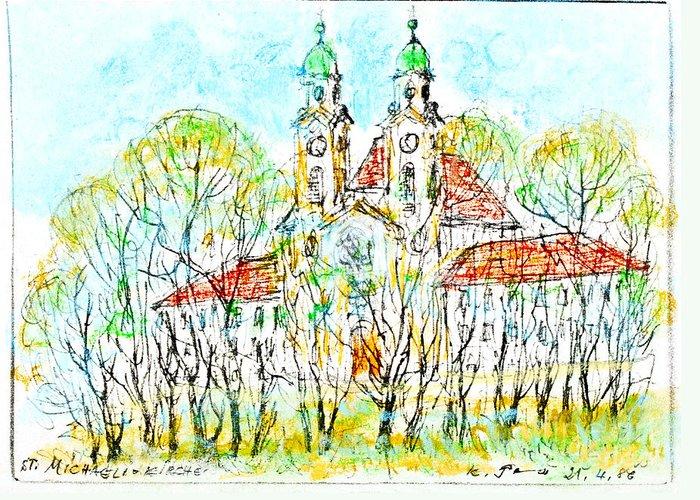 Church Greeting Card featuring the drawing St. Michaeli Church In Munich by Kurt Tessmann