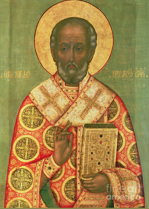 Miracle Worker; Icon Greeting Card featuring the painting St. Nicholas by Russian School