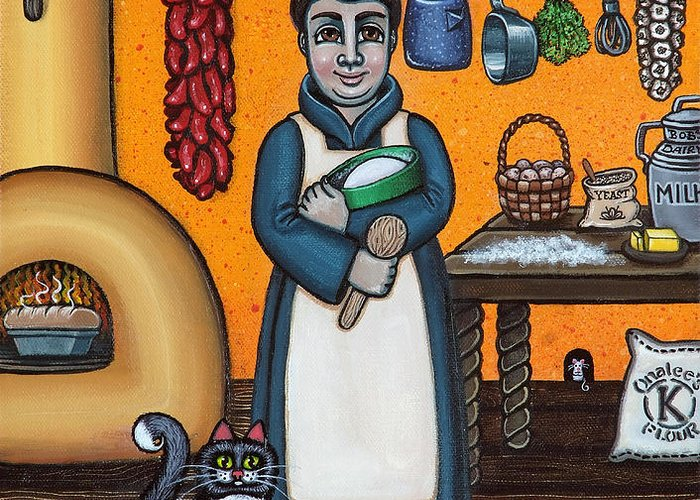 San Pascual Greeting Card featuring the painting St. Pascual Making Bread by Victoria De Almeida