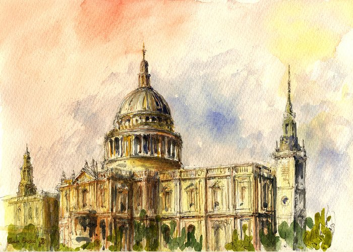 St Paul Greeting Card featuring the painting St Paul Cathedral by Juan Bosco