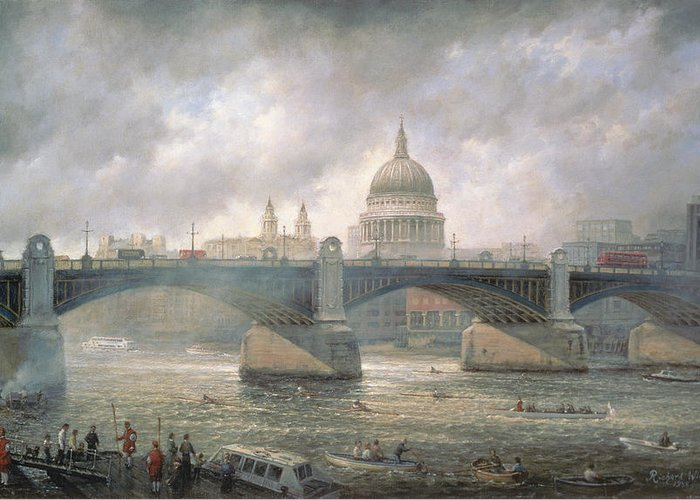 Thames Greeting Card featuring the painting St. Paul's Cathedral From The Southwark Bank by Richard Willis