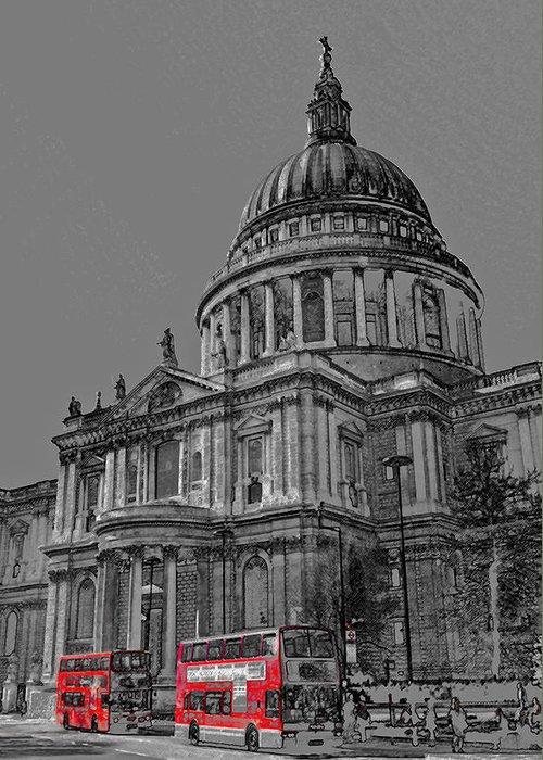 St Pauls Greeting Card featuring the digital art St Paul's Cathedral London Art by David Pyatt