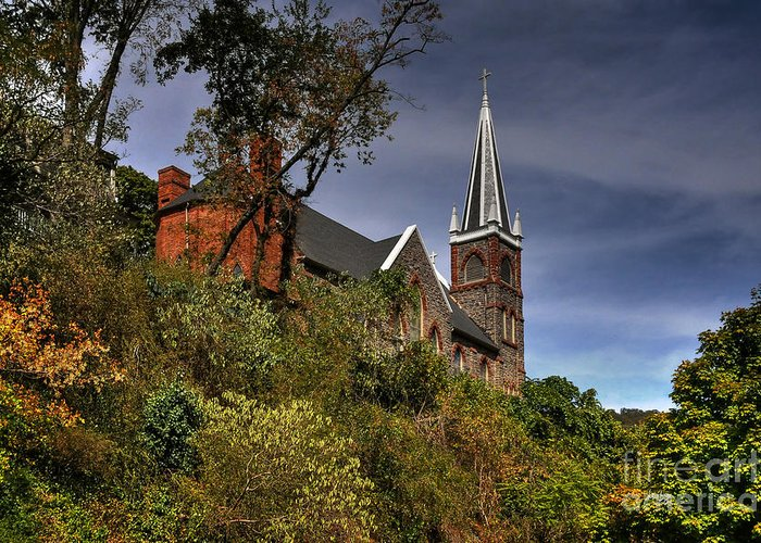 Church Greeting Card featuring the photograph St. Peter's Of Harpers Ferry by Lois Bryan