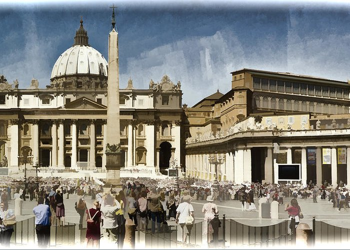 St Peters Greeting Card featuring the photograph St Peters Square - Vatican by Jon Berghoff