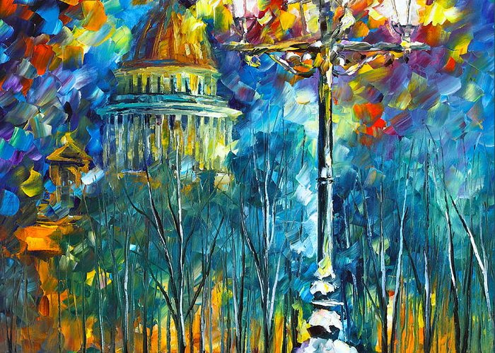 Russia Greeting Card featuring the painting St. Petersburg New by Leonid Afremov