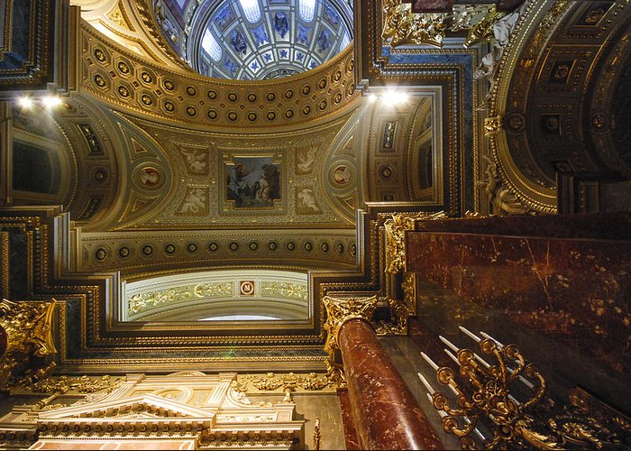 St Stephens Greeting Card featuring the photograph St. Stephens Ceiling 1 by David Waldo