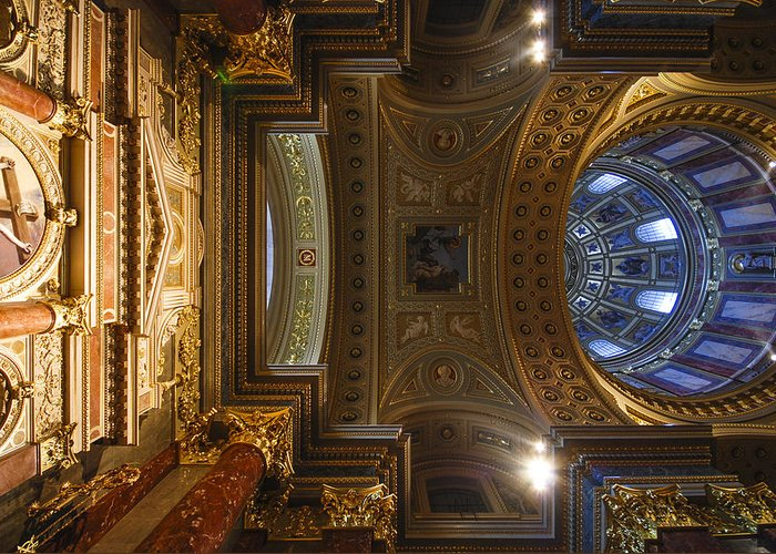 St Stephens Greeting Card featuring the photograph St. Stephens Ceiling 2 by David Waldo
