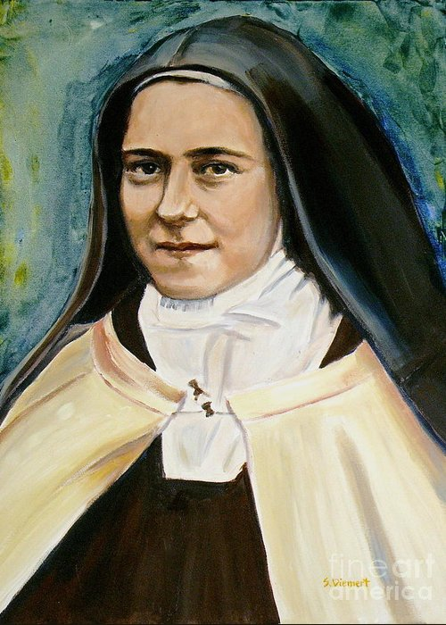 St. Therese Greeting Card featuring the painting St. Therese by Sheila Diemert